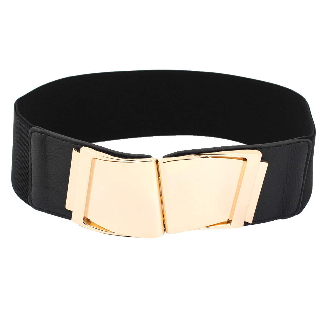 Women Metal Gold Tone Interlocking Buckle Waist Cinch Belt Black