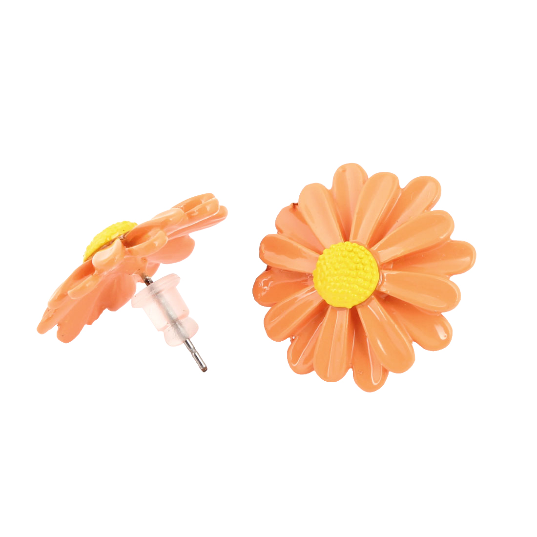 Ladies Ear Decoration Flower Shaped Ornament Stud Earrings Orange Yellow Pair