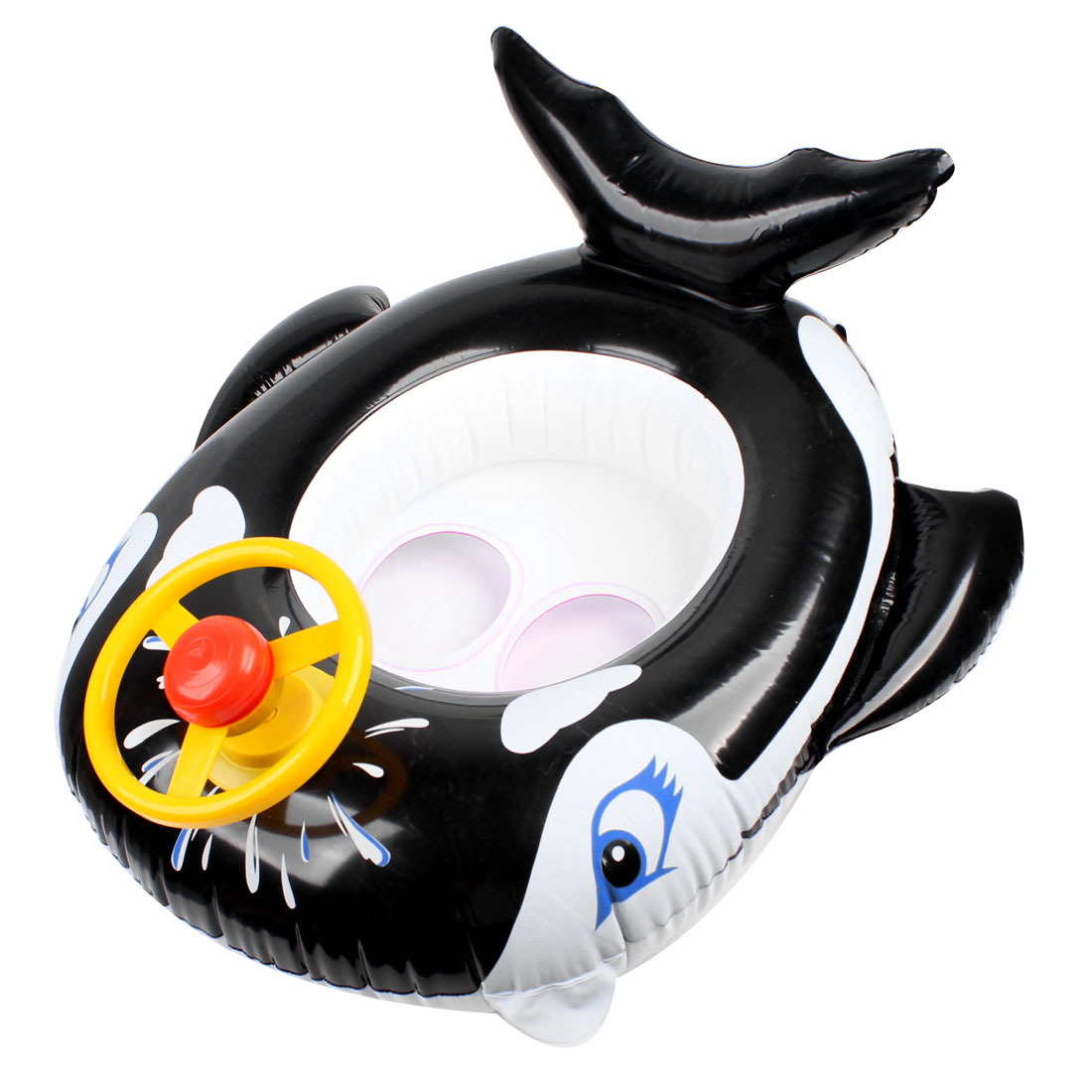 Whale Shaped Inflatable Baby Swimming Seat Float Boat w Steering Wheel
