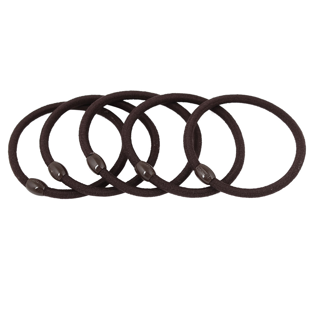5 Pcs Dark Brown Oval Beads Ponytail Holders Stretchy Hair Tie