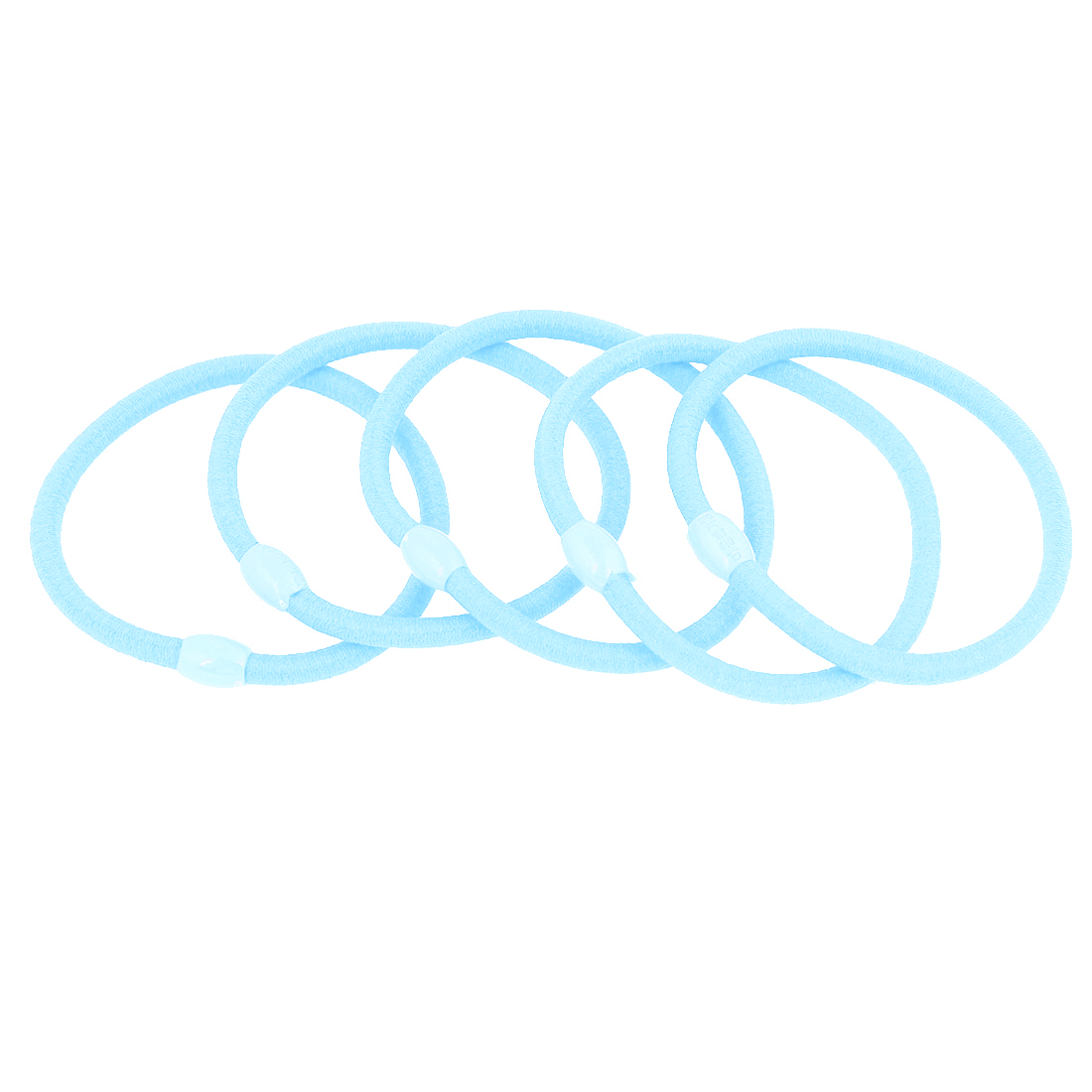 5 Pcs Ladies Ponytail Holder Sky Blue Elastic Hair Rope Ties
