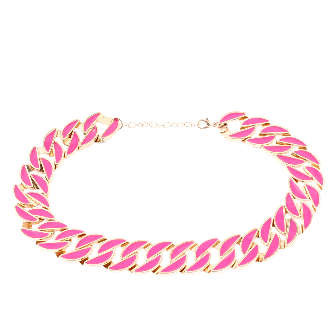 Adjustable Pendend Gold Tone Fuchsia Necklace 43cm Girth for Lady