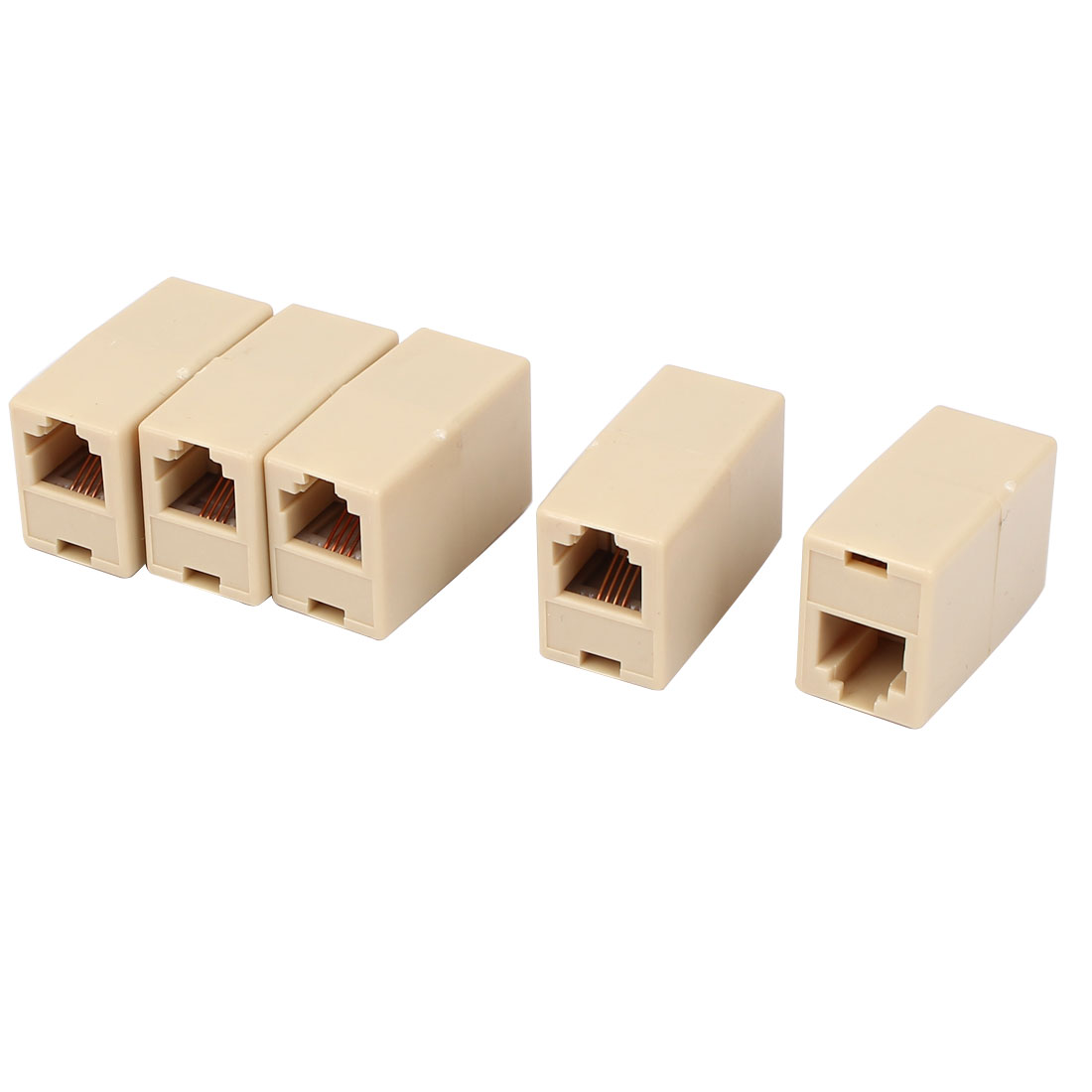 Plastic RJ11 8P4C Female/Female Telephone Cable Inline Connector Beige 5 Pcs