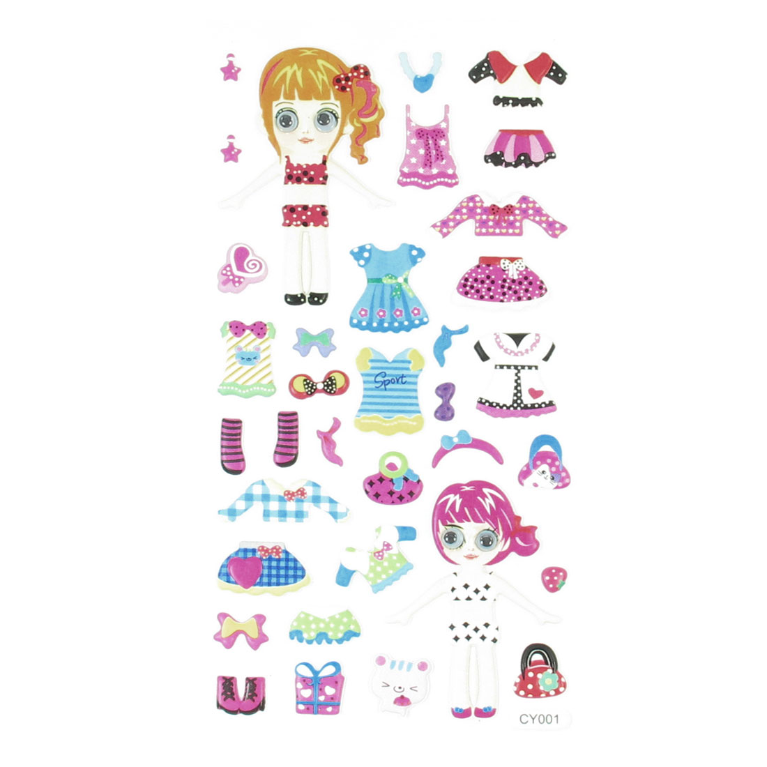 Wobble Eyes Girl Dolls Dress Up Waterproof Craft DIY Foam Sticker