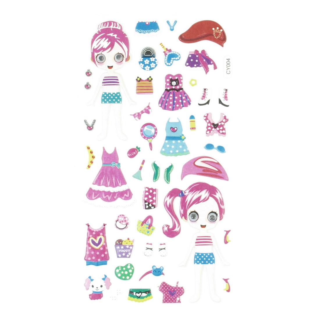 Wobble Eyes Girl Dolls Dress Up Skirt Pattern Crafts DIY Sponge Sticker