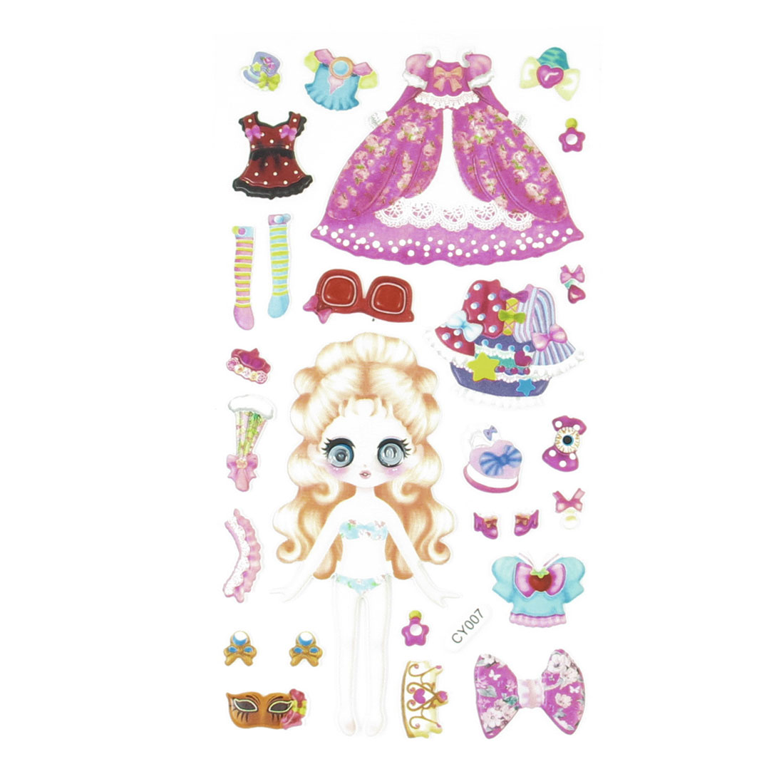 Pink Plastic Wobble Eyes Girls Bubble Skirt Pattern Princess Foam Sticker