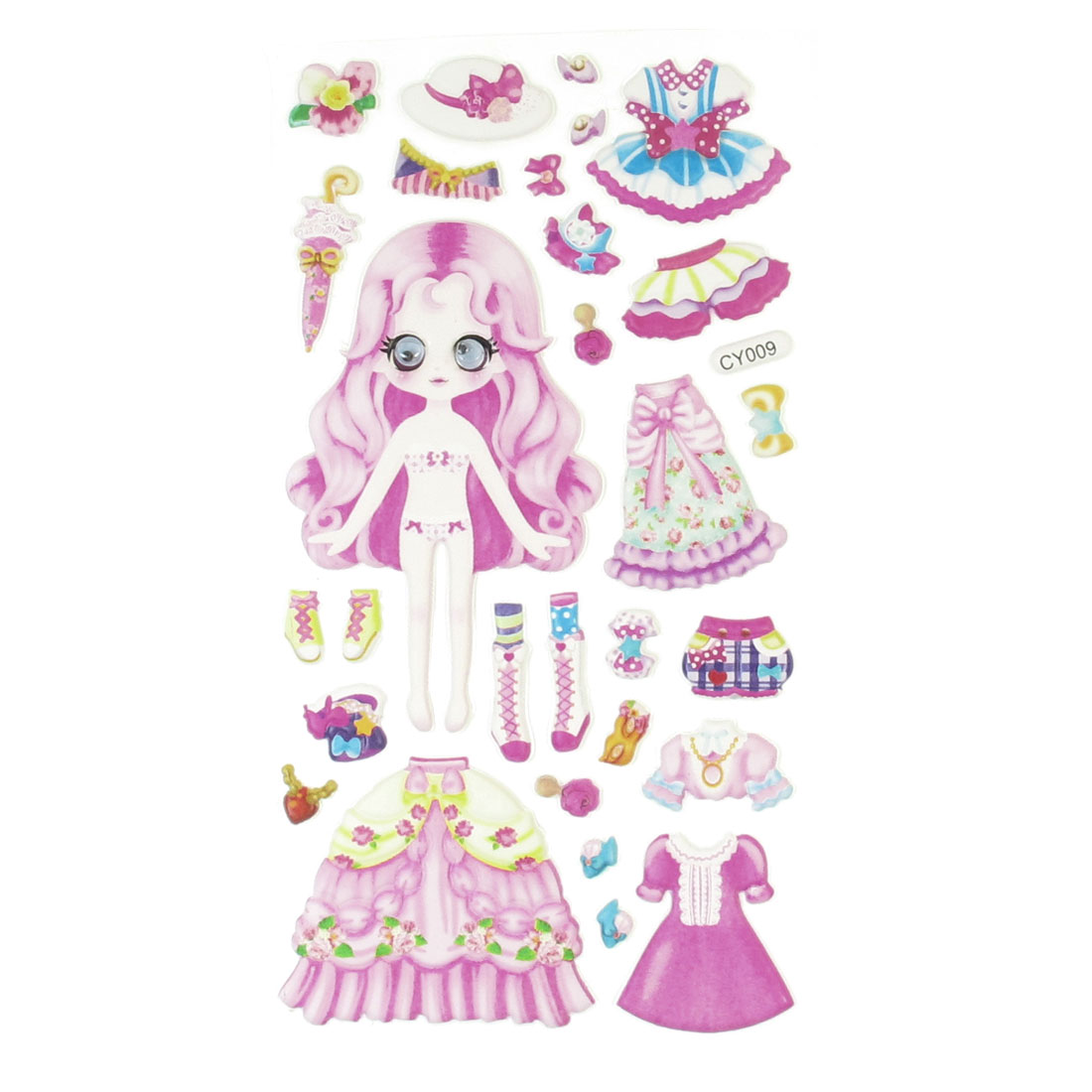 Pink Plastic Wobble Eyes Girls Dress Up Games Princess Puffy Sticker