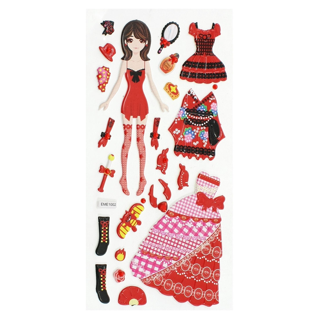 Children Plastic DIY Rhinestone Decor Dress Up Princess Sticker Sheet Red Black
