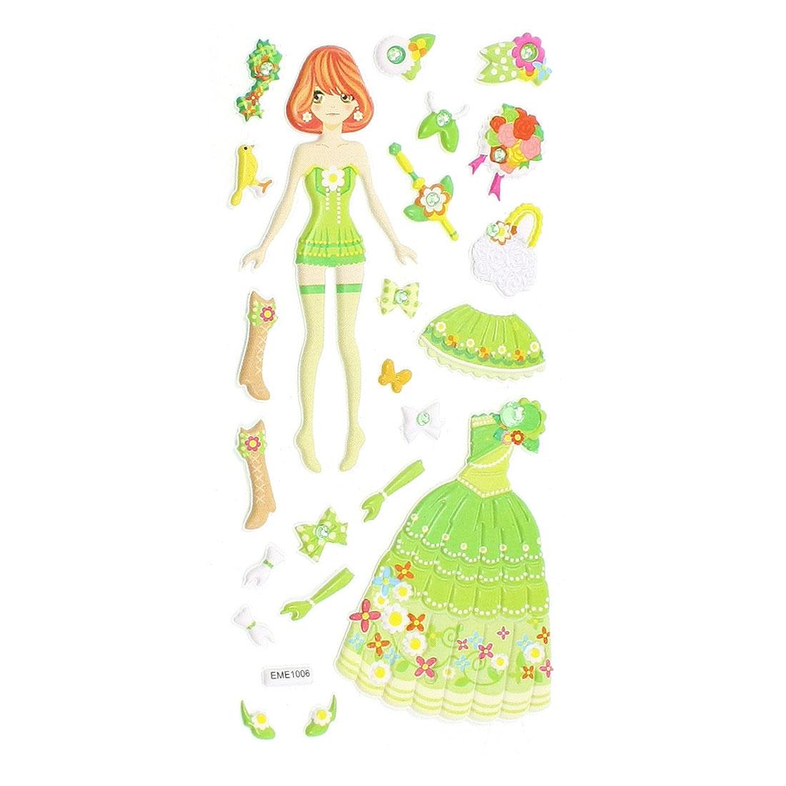Children Plastic DIY Rhinestones Accent Princess 3D Sticker Sheet Green