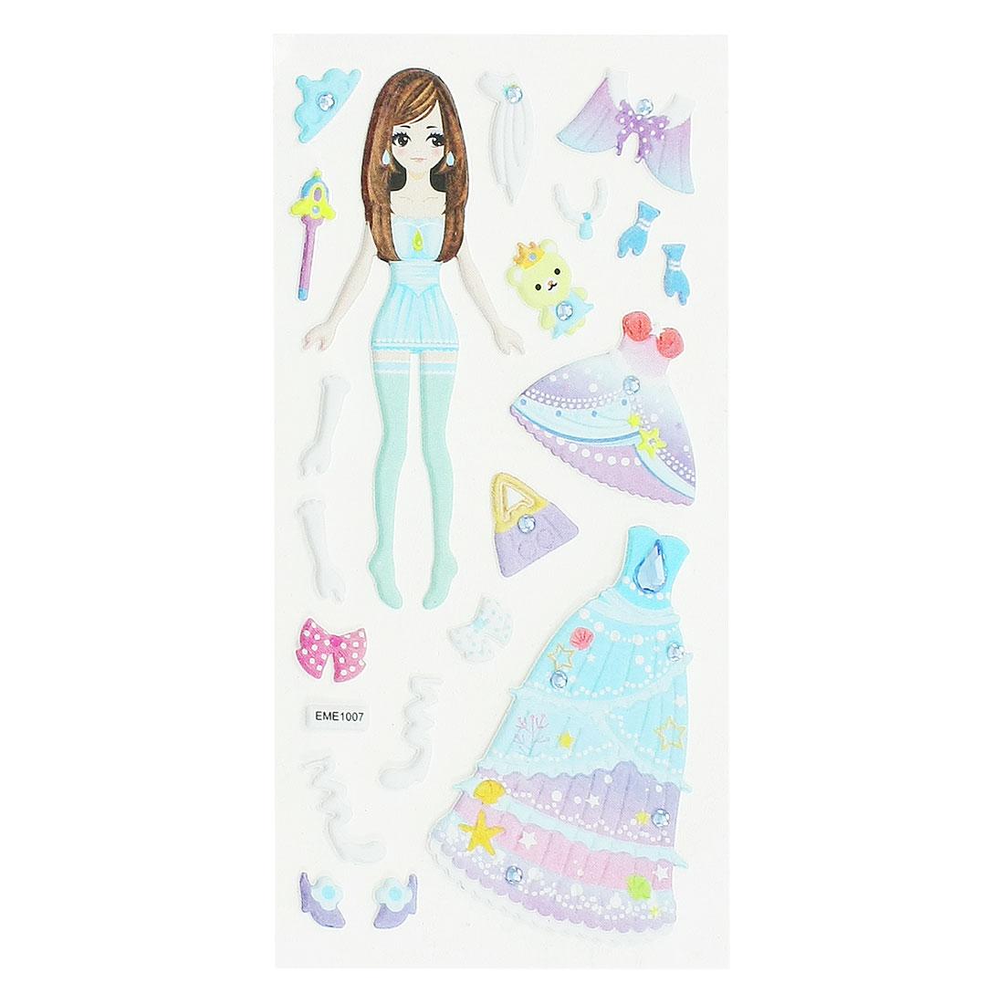 Kids Plastic DIY Rhinestone Inlaid Princess 3D Sticker Sheet Sky Blue