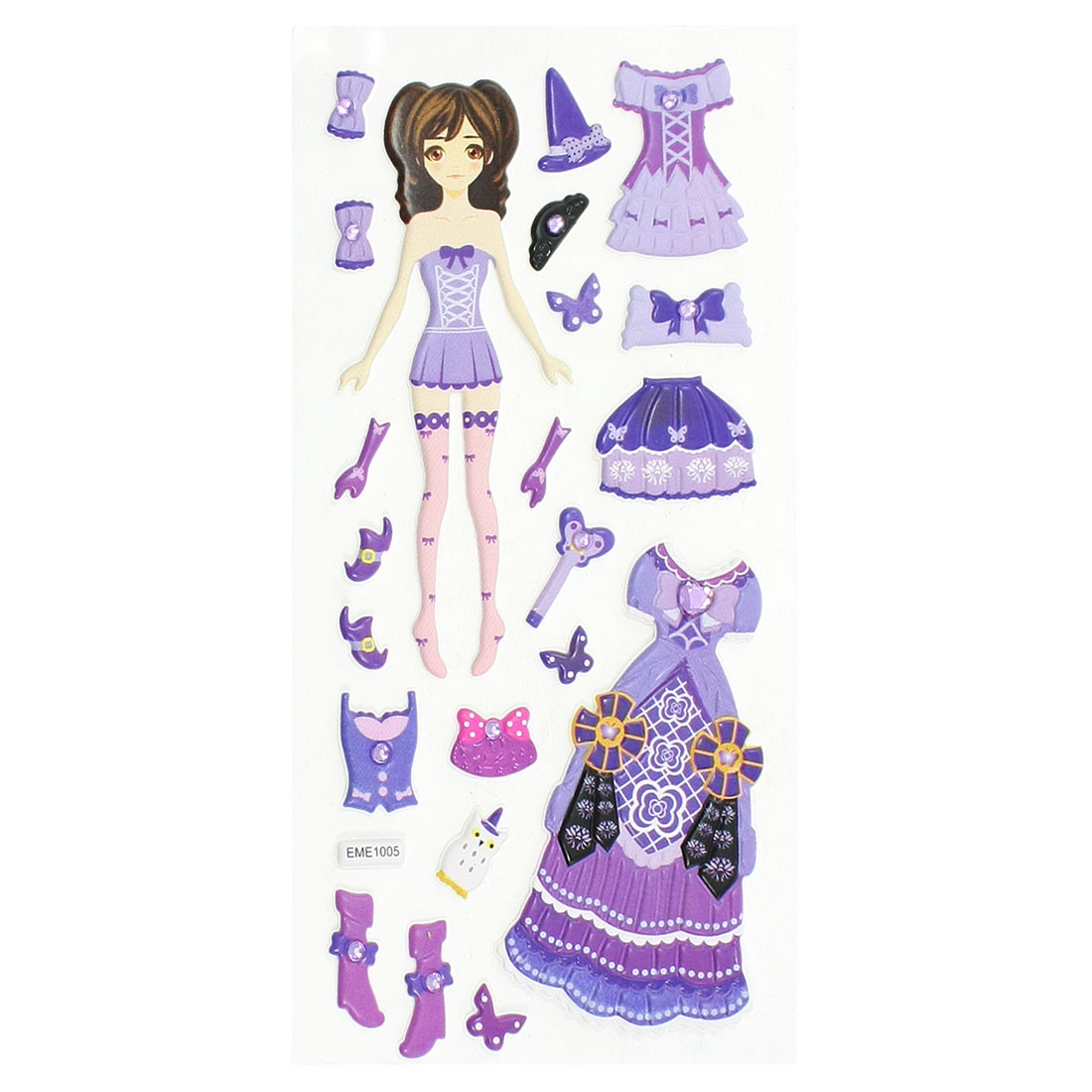 Kids Plastic DIY Rhinestone Inlaid Dress Up Princess 3D Sticker Sheet Purple