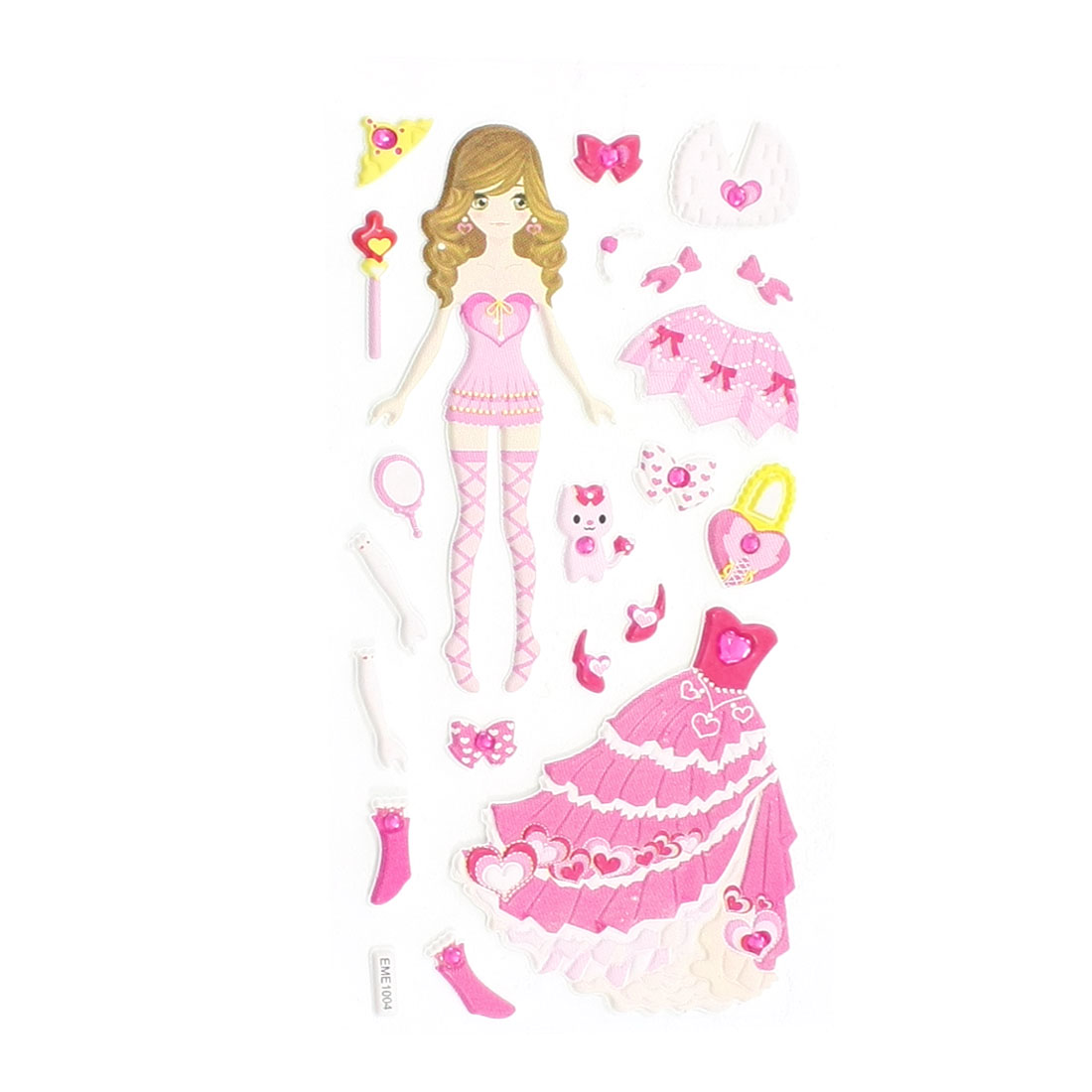 Girls Plastic DIY Rhinestone Inlaid Dress Up Princess 3D Sticker Sheet Pink