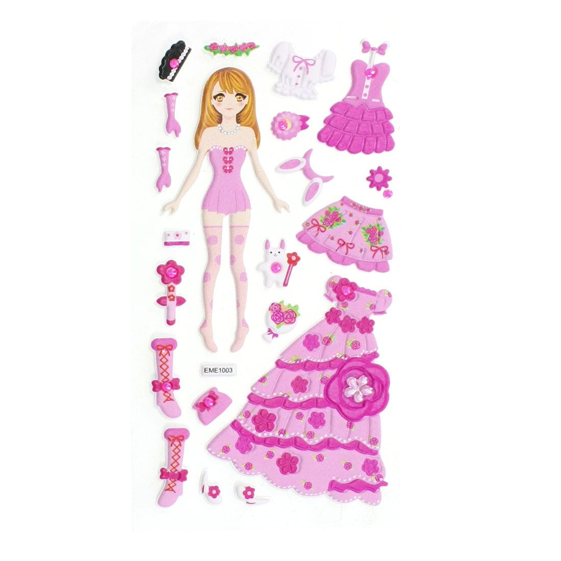 Kids Plastic DIY Rhinestone Inlaid Dress Up Princess 3D Sticker Sheet Pink