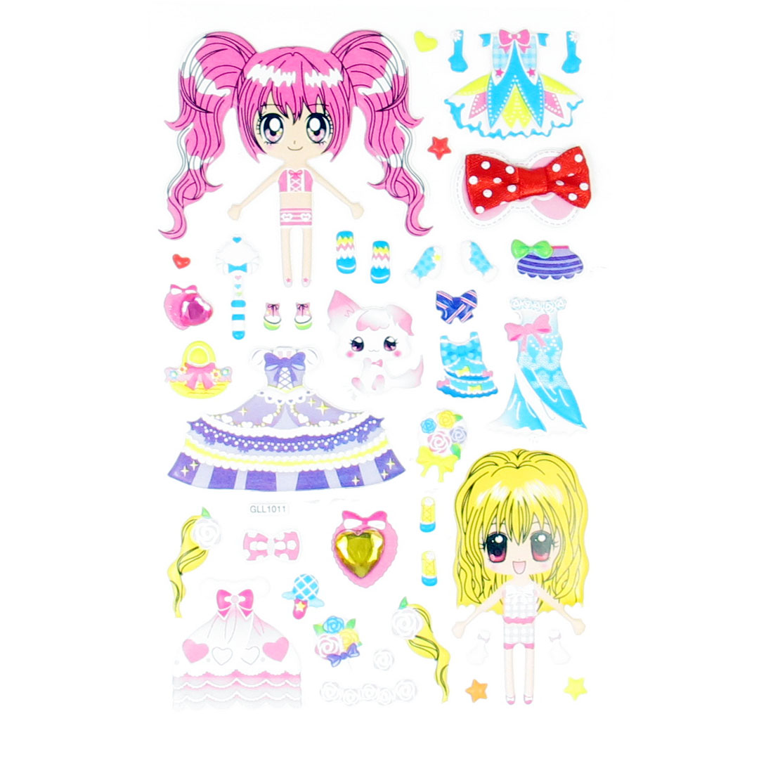 Wedding Dress Bags Pattern Cartoon Girls DIY Colorful 3D Princess Sticker Sheet