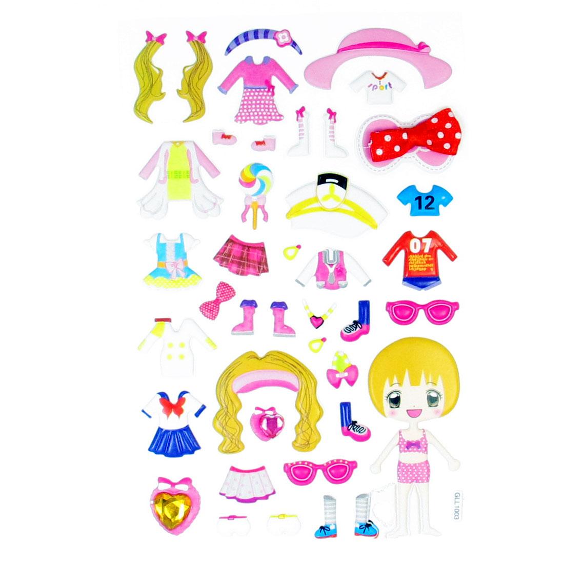 Bedroom Wall Decor Girls Pet Skirts Pattern 3D Puffy Sticker