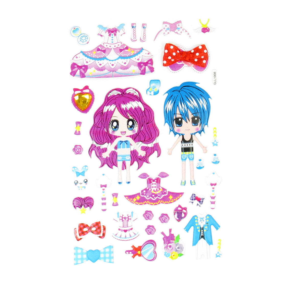 Kids Gift Girls Random Dress Up 3D DIY Puffy Stickers Sheet Decal