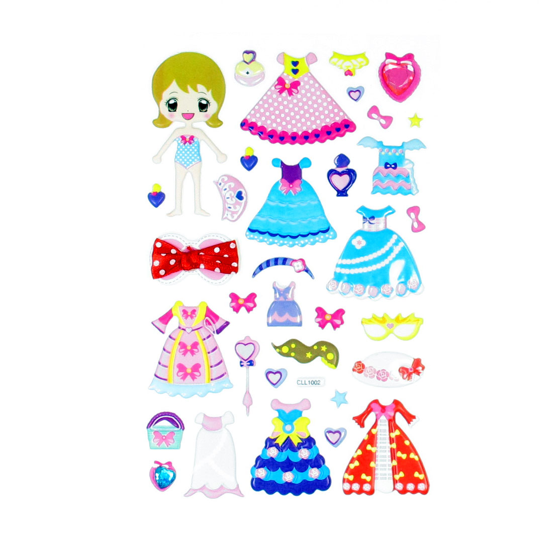 Children Gift Girls Mixed Dress Up 3D DIY Puffy Stickers Sheet
