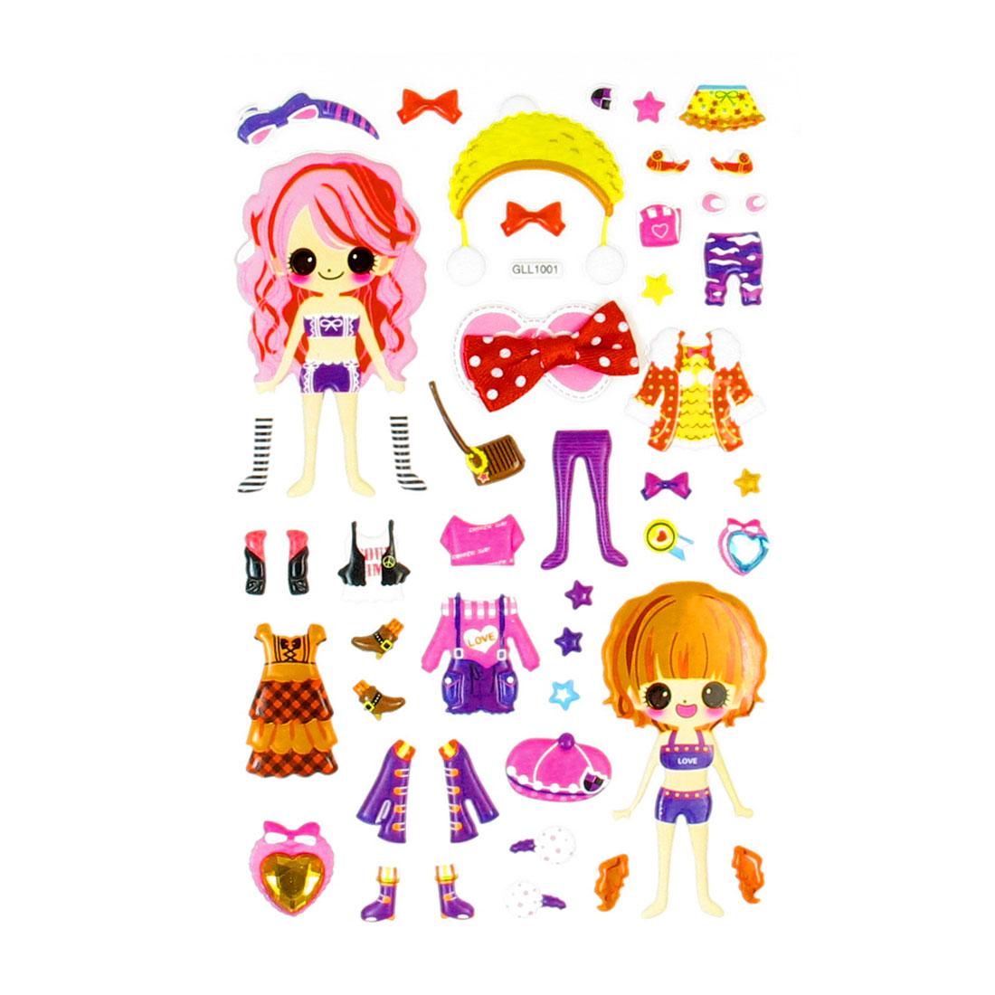 Children Gift Waterproof Girls Mixed Dress Up Puffy 3D Stickers Sheet