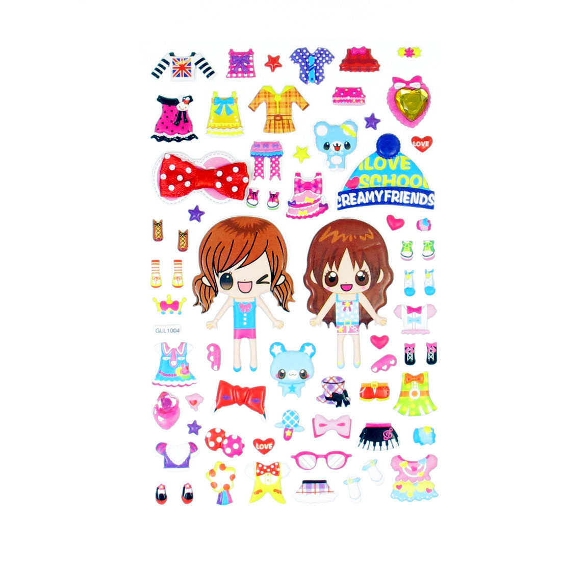 Children Gift Waterproof Girls Mixed Dress Up 3D DIY Puffy Stickers Sheet