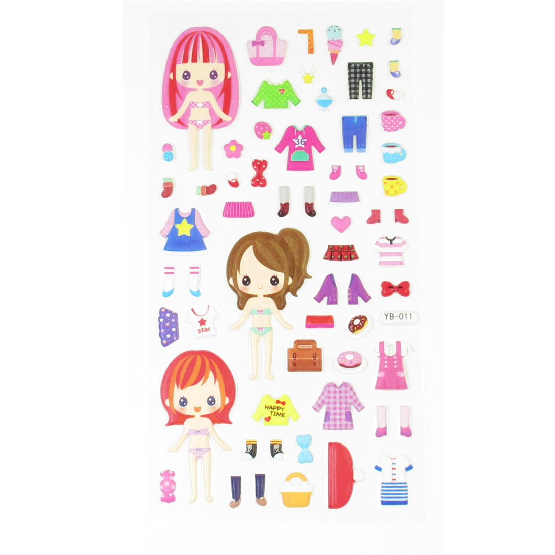 Birthday Party Decor Girls Dress Up Game Crafts Foam Puffy Sticker Sheet
