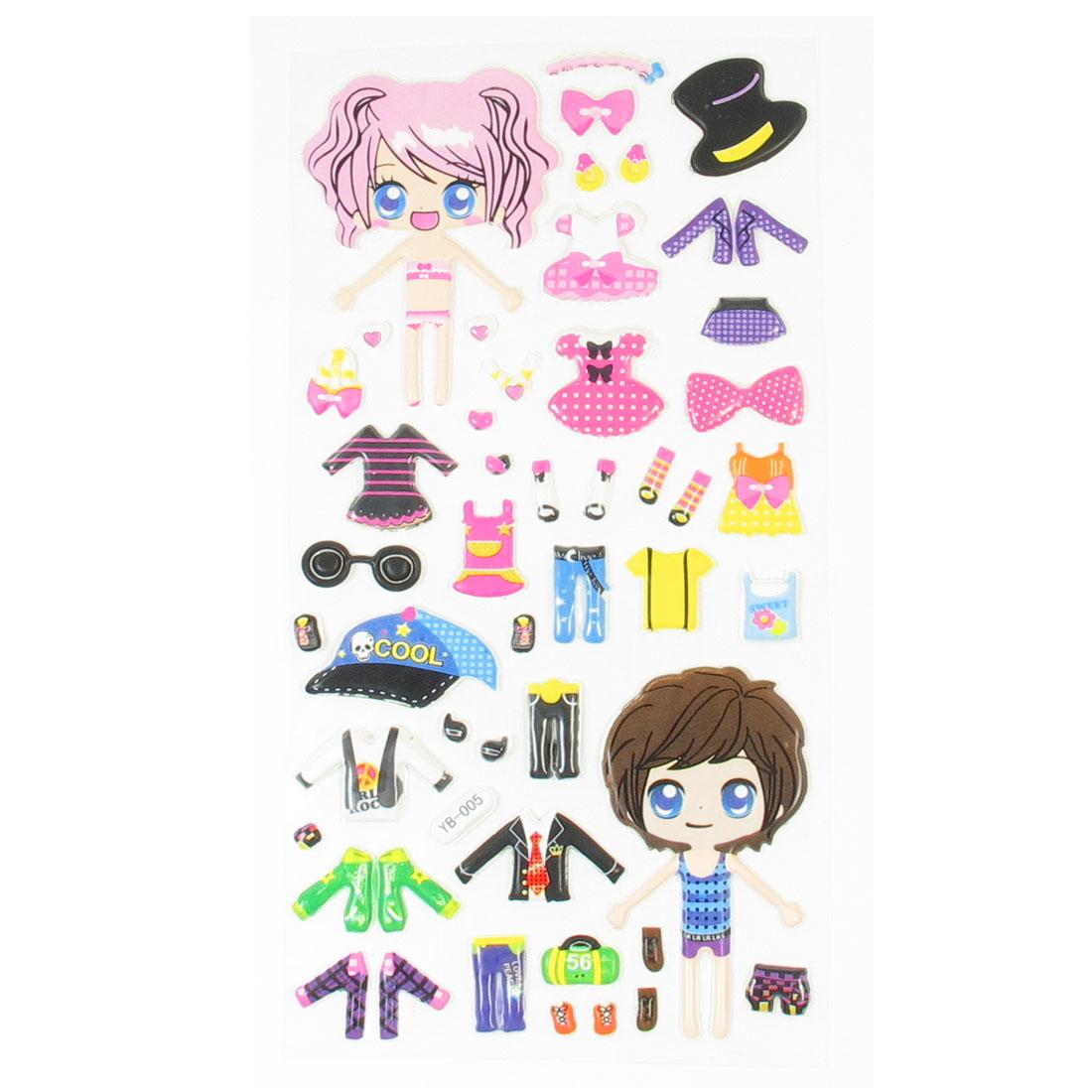 Girls Dress Up Dolls 3D DIY Crafts Sponge Puffy Sticker Decor Colorful