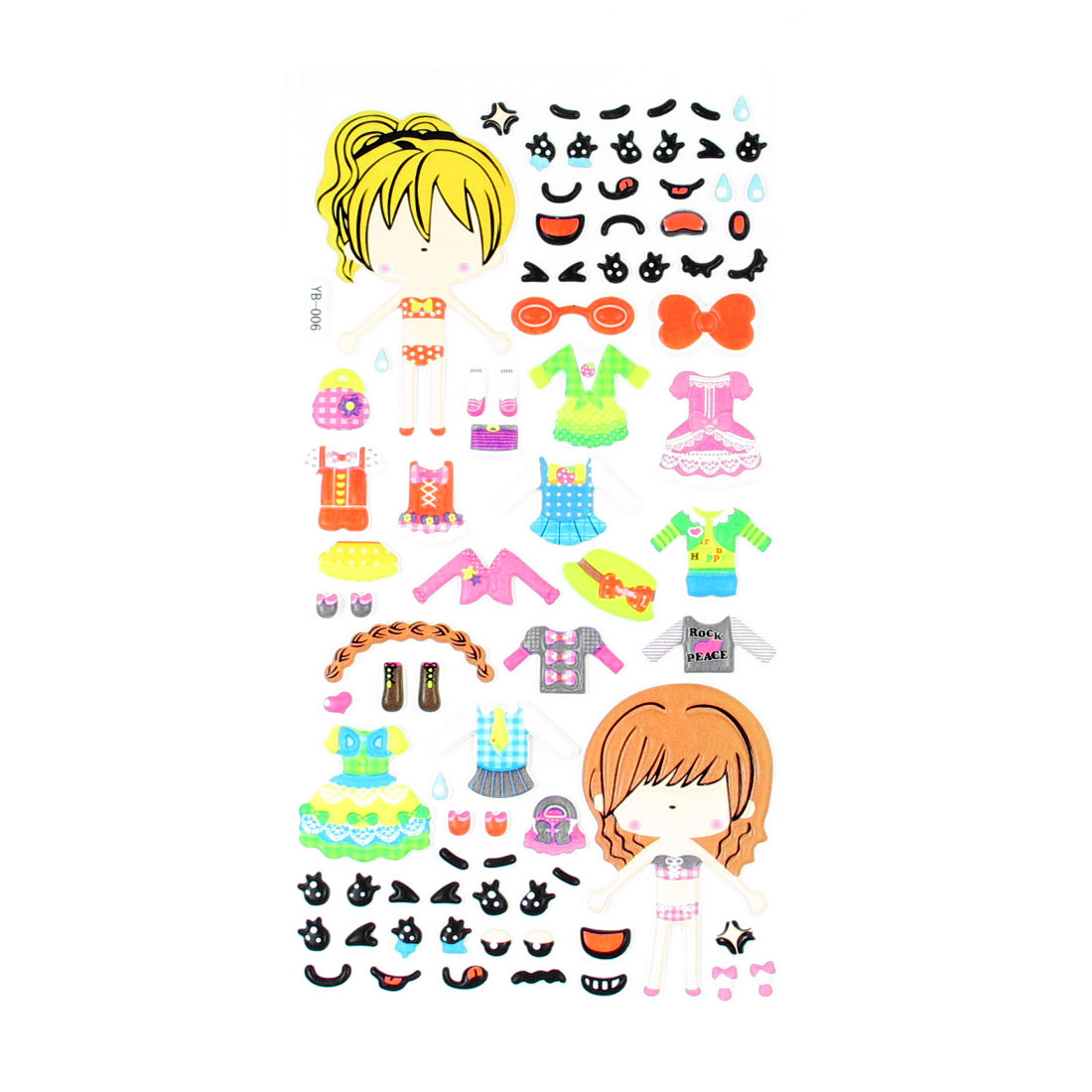 Girls Eyes Nose Mouth Pattern Dress Up 3D Puffy Sticker Decal