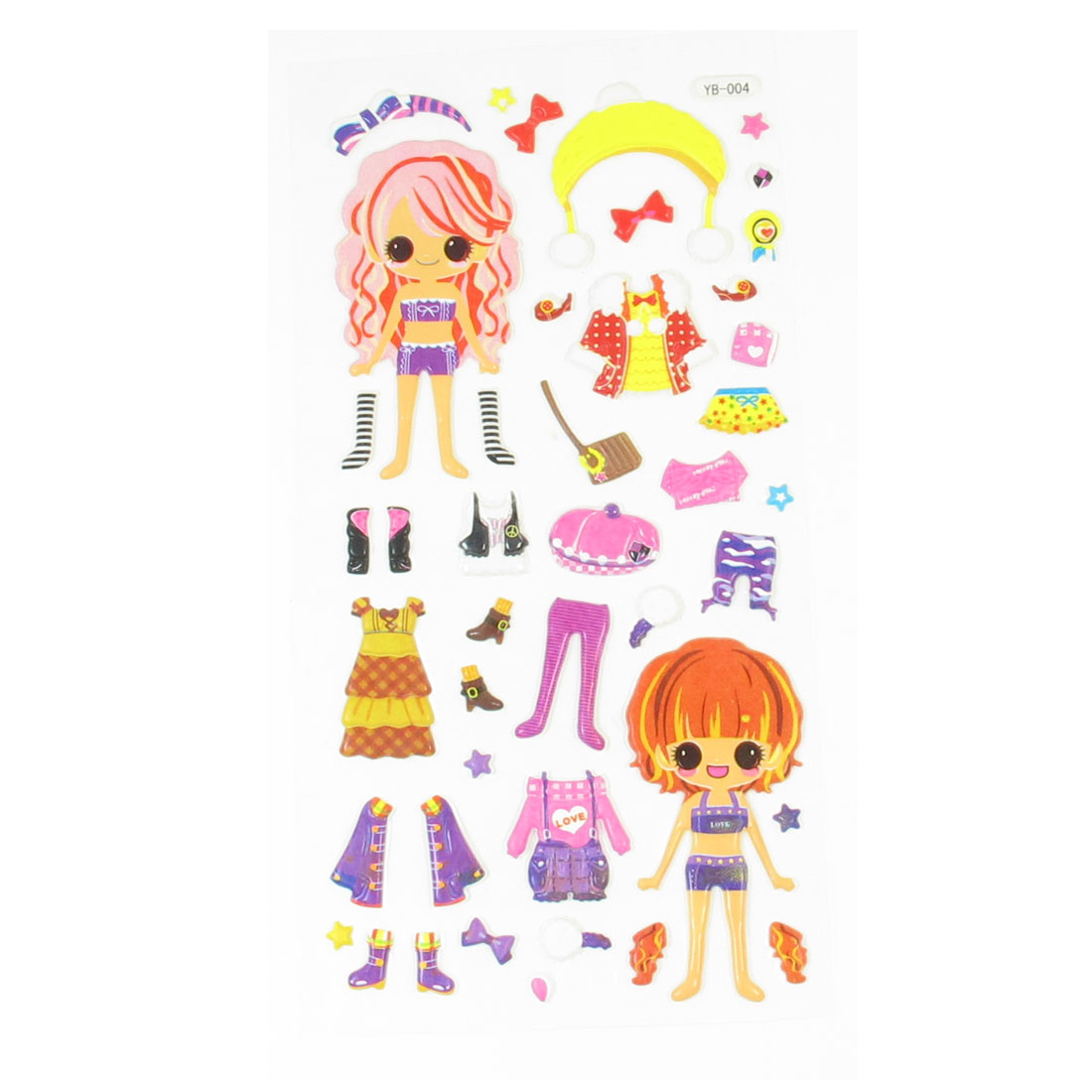 Kid Gift Girls Dress Up Dolls DIY Crafts Sponge Puffy Sticker Decor Colorful