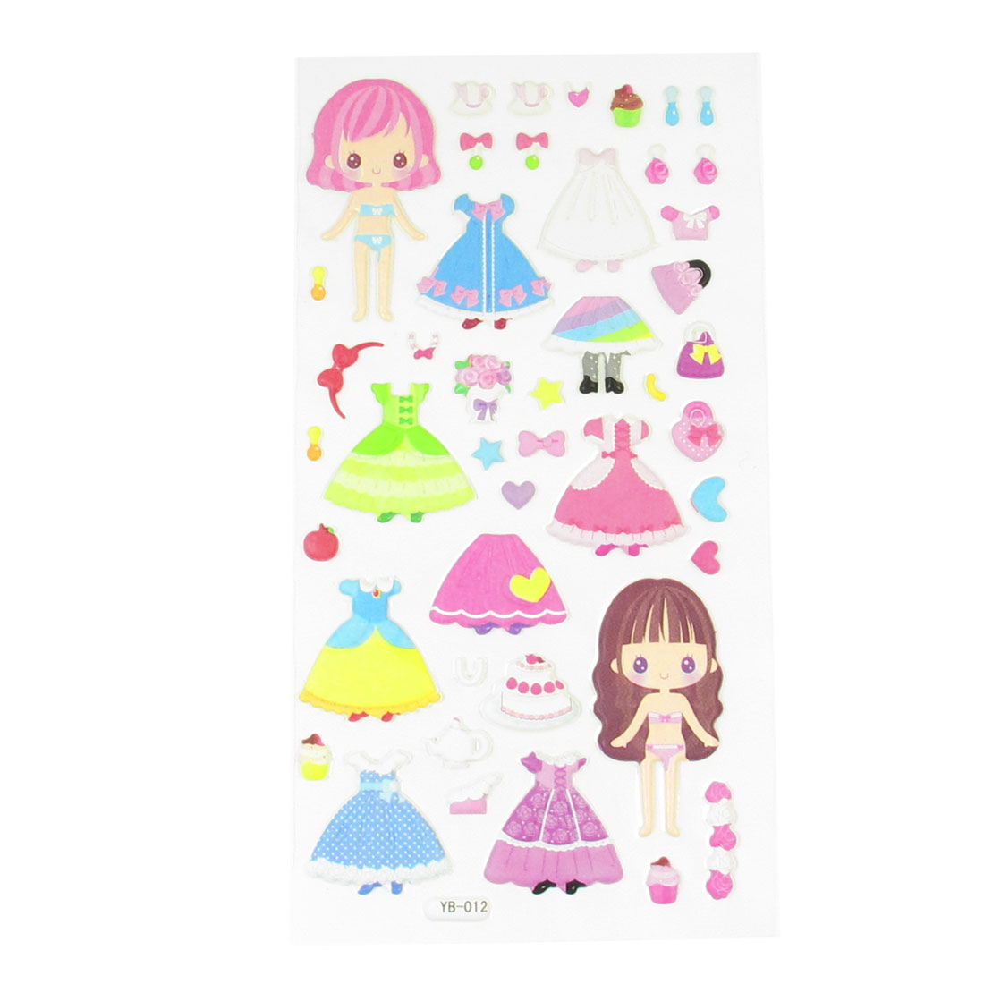 Baby Room Wall Girls Dolls Skirt Pattern Crafts Sponge Puffy Sticker Decal