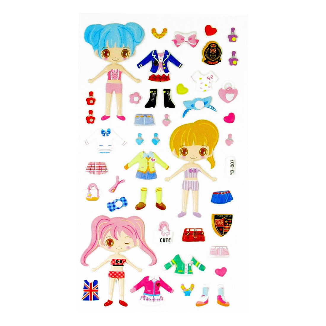 Colorful Girls Dress-up Game Crafts Puffy Stickers Sheet