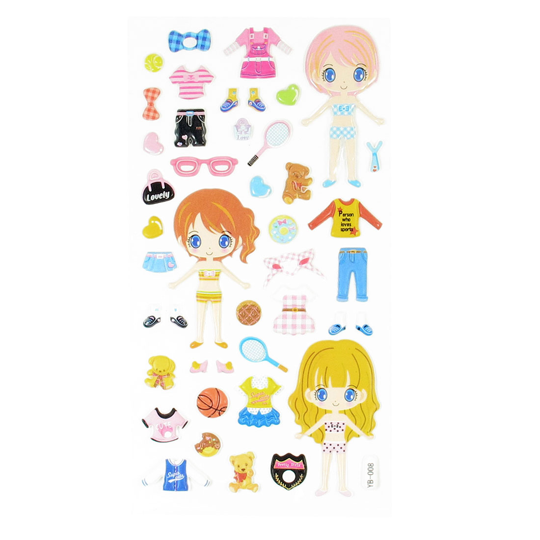 Children Gift Colorful Girls Dress-up Crafts Sponge Puffy Stickers Sheet