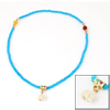 Girls Elephant Detail Pendant Blue Plastic Elastic Necklace Ring Bracelet