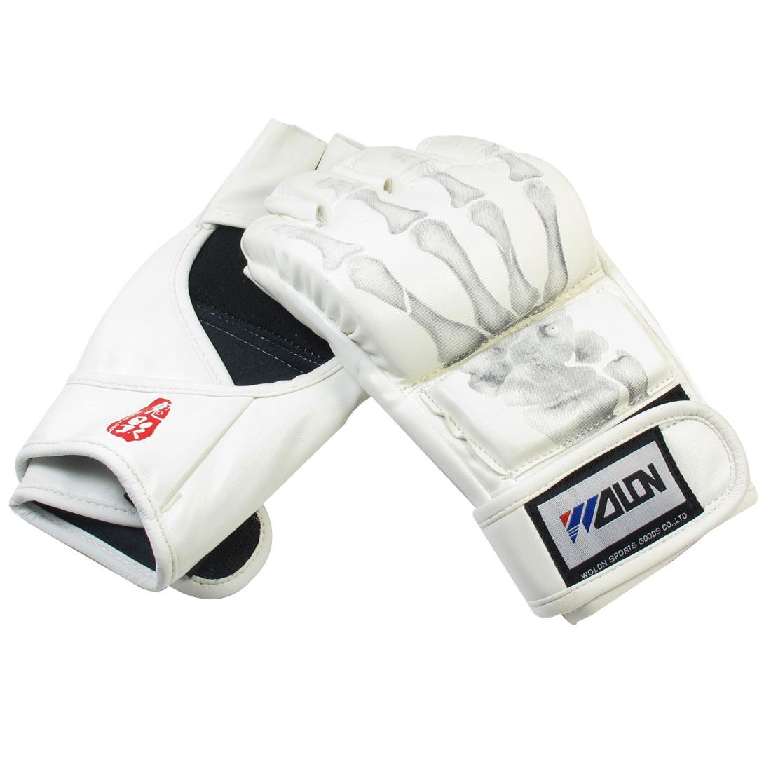 Gray Skeleton fingers Print Padded PU Mittens Boxing Half Finger Gloves White
