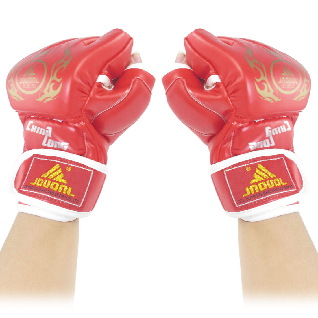 Men Women Padded Red White Faux Leather Half Finger Boxing Gloves Pair
