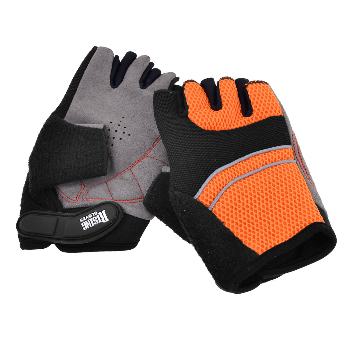 Adult Black Orange Mesh Design Neoprene Rubber Half Finger Sports Glove Pair