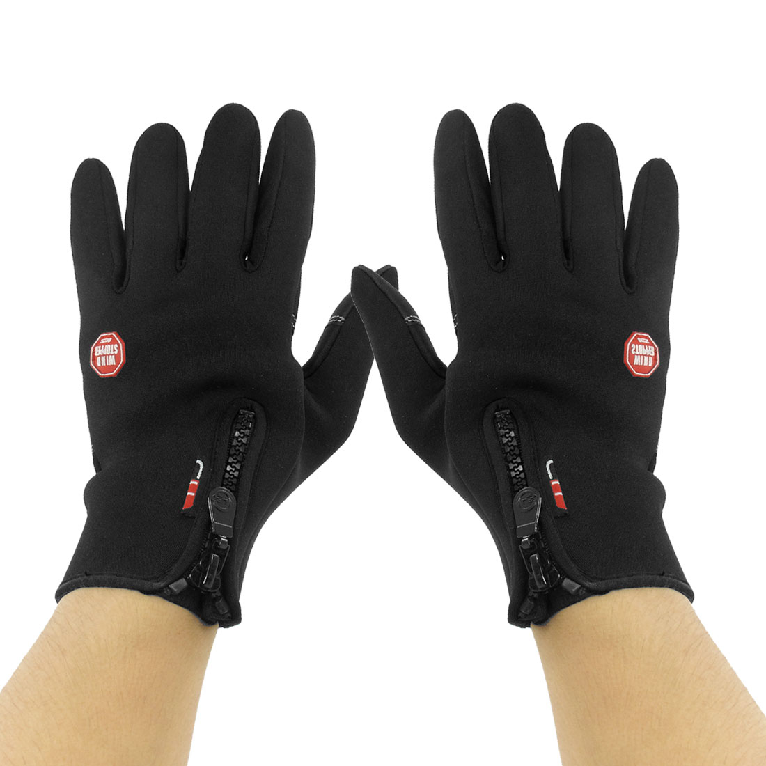 Adult Pair Fitness Black Zip Fastener Full Finger Motorcycle Windproof Gloves