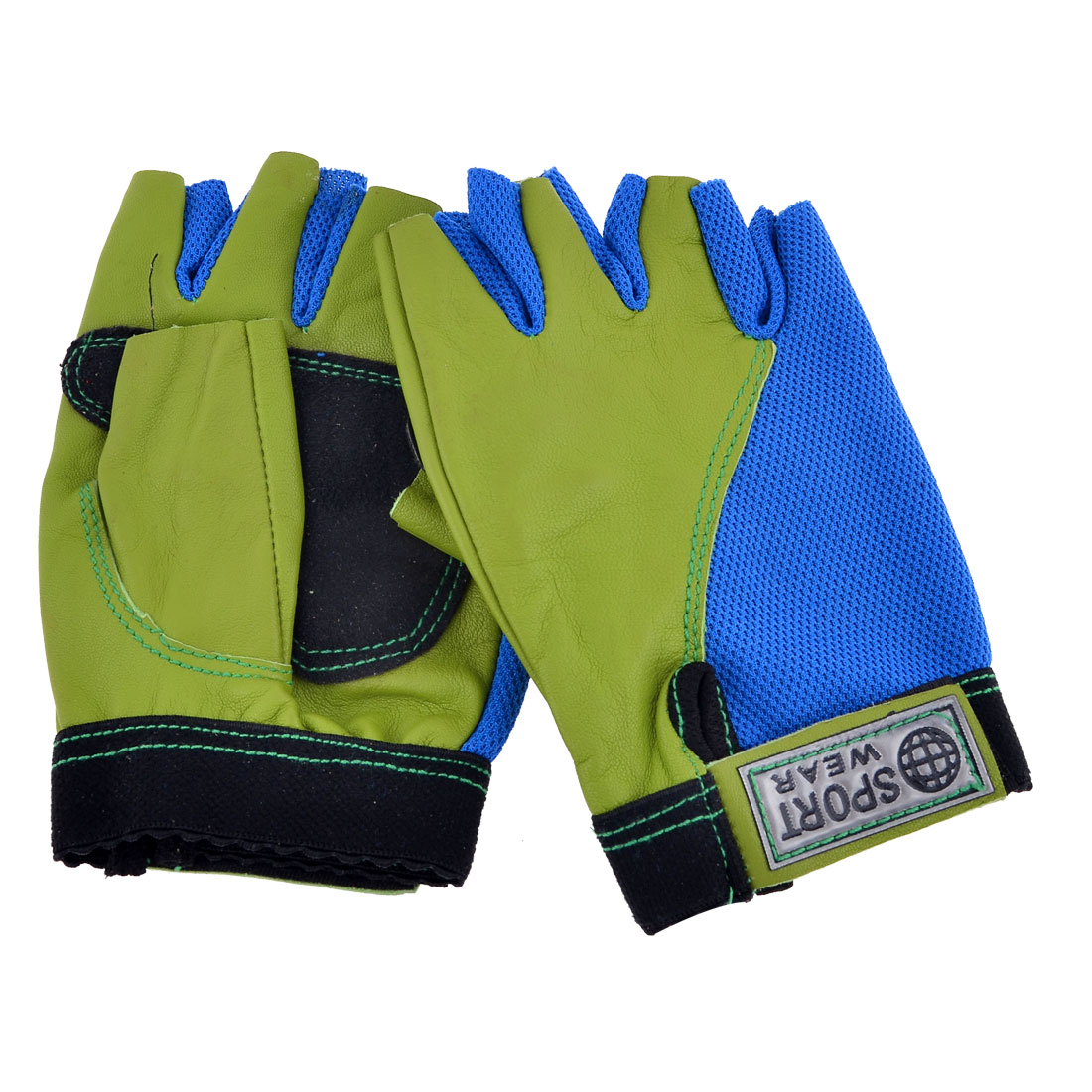 Lady Men Blue Green Yellow Half Finger Palm Protector Gloves Support Pair