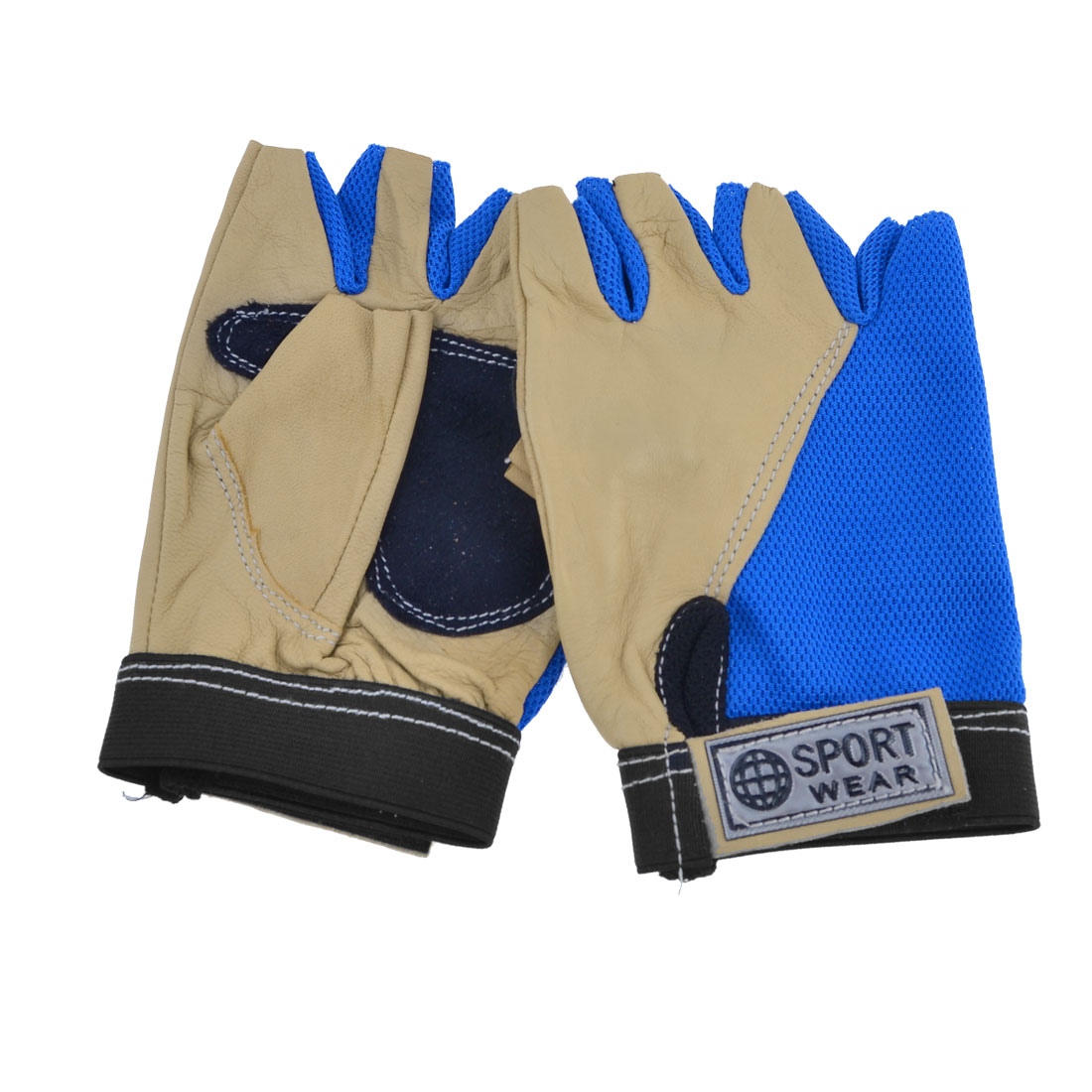 Men Women Blue Beige Antislip Half Finger Sports Gloves Palm Support Pair
