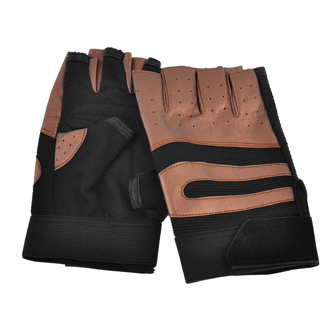 Adults Breath Freely Sports Cycling Climbing Half Finger Glove Pair Black Brown