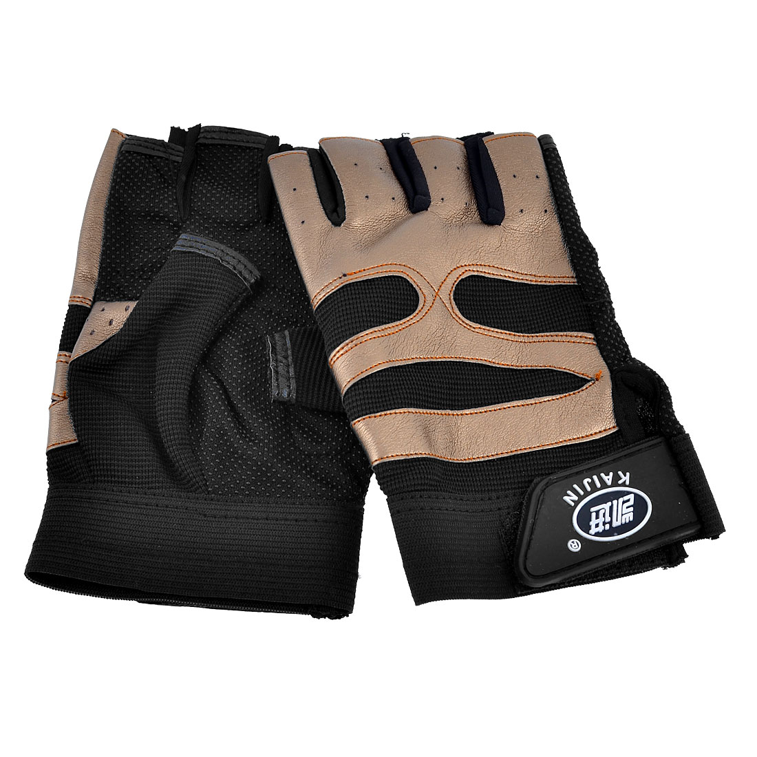 Pair Men Women Black Brown Mesh Neoprene Spandex Rubber Half Finger Sports Glove