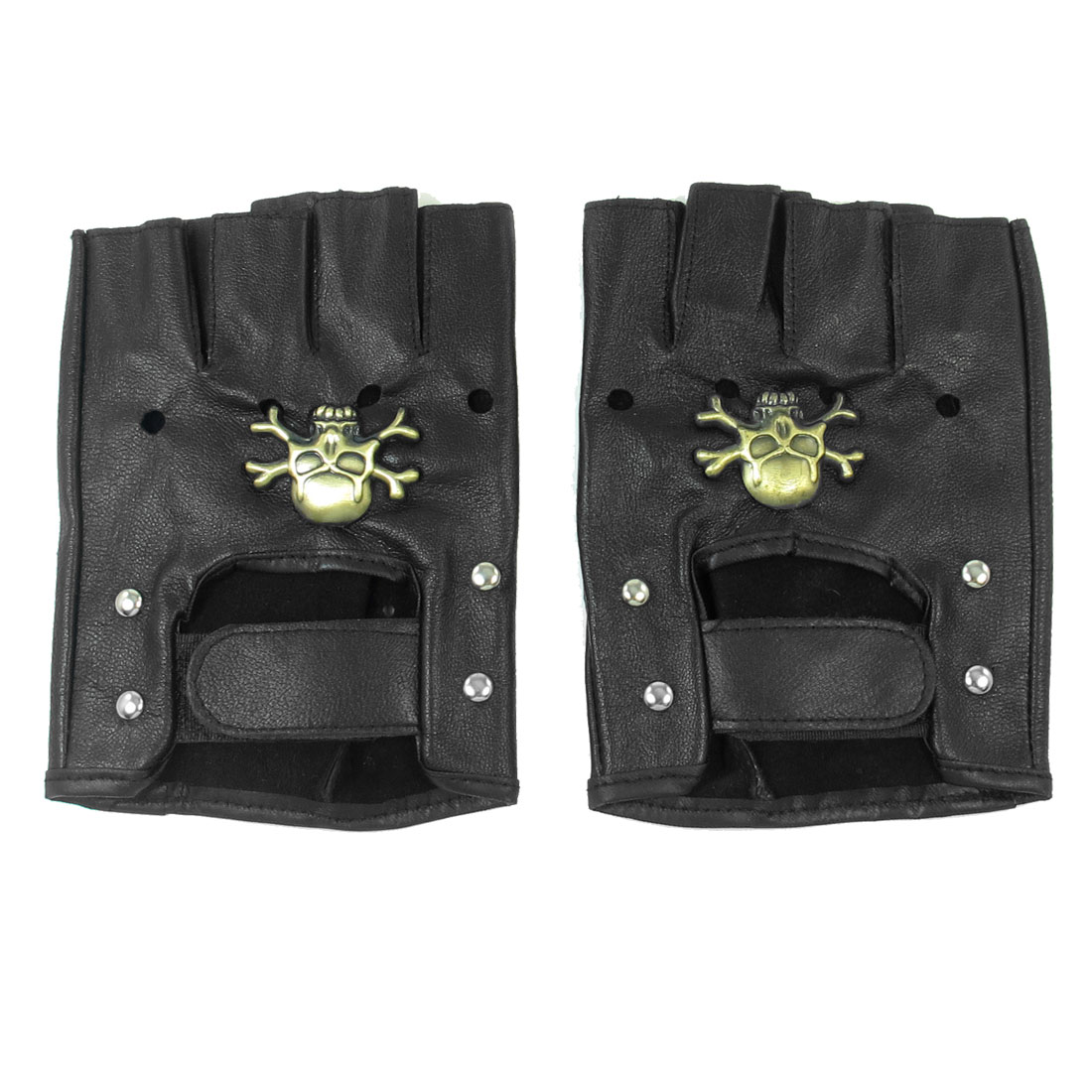 Skull Decor Cycling Nonslip Neoprene Fingerless Gloves Black for Ladies Men
