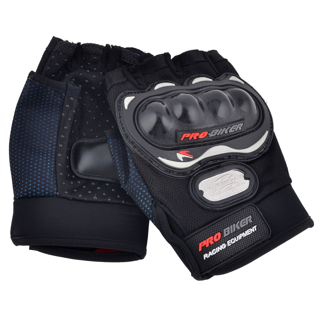 Adults Mountain Bike Driving Adjustable Wrist Half Finger Gloves Black Pair