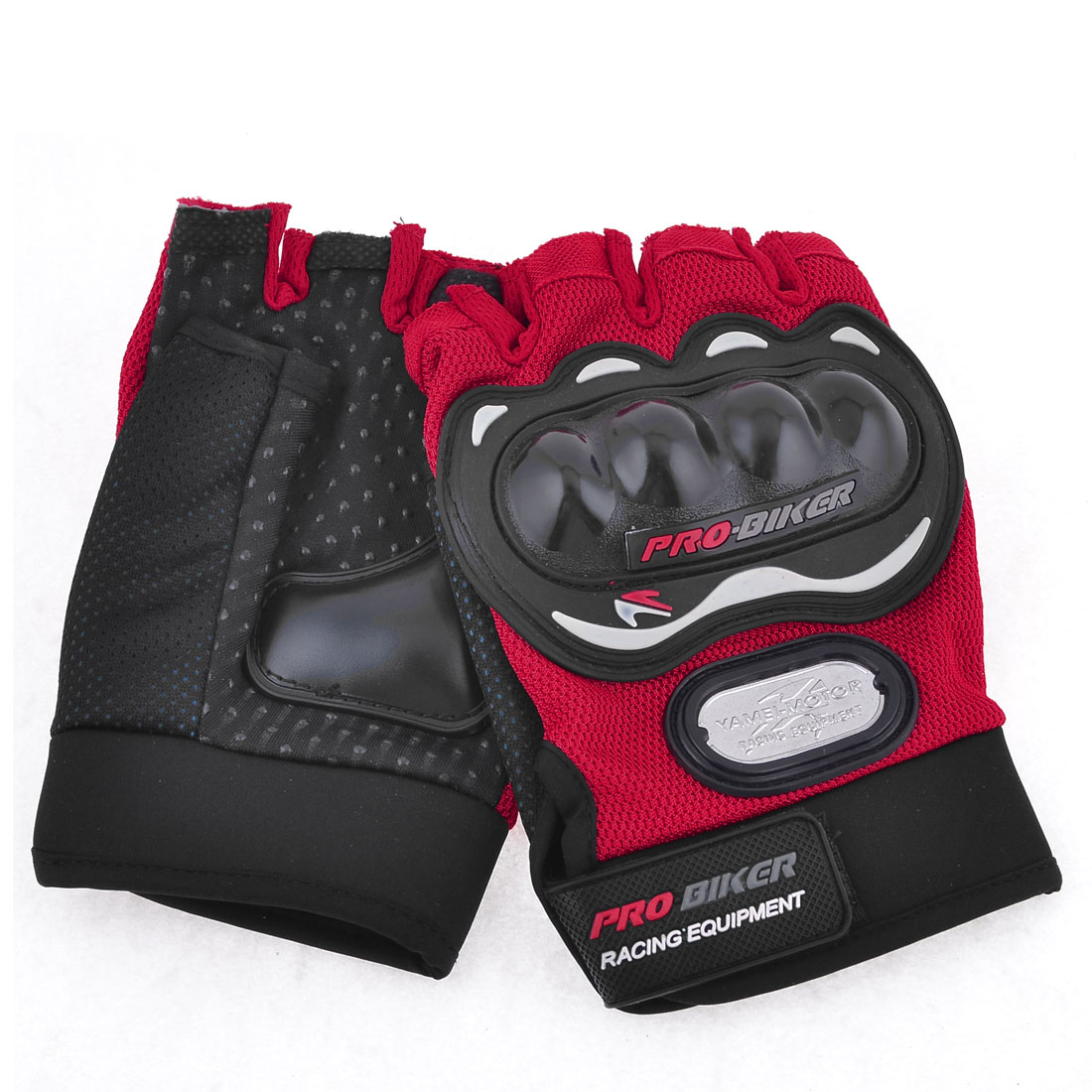 Men Red Black Antislip Wear Resistant Palm Design Half Finger Sports Gloves Pair