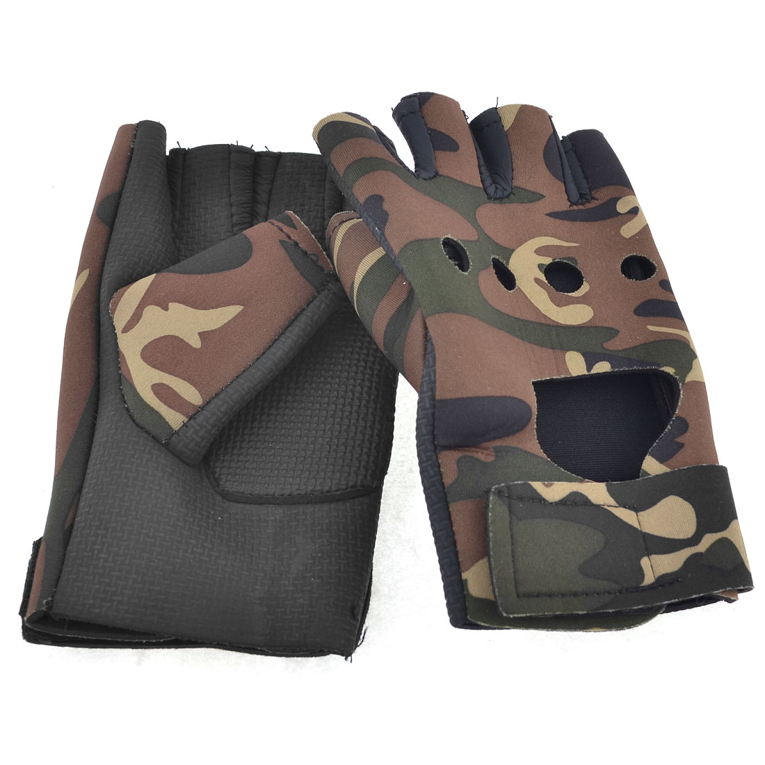 Hook Loop Strap Nonslip Palm Breath Freely Gloves Black Camouflage for Men