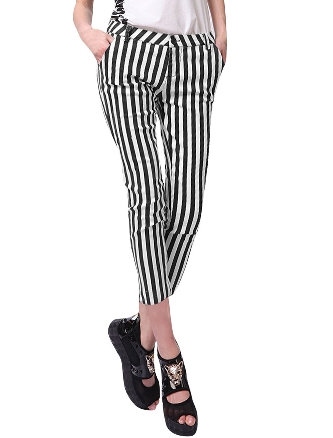 Lady Black White Elastic Waist Zip Fly Pockets Stripes Prints Capris XS