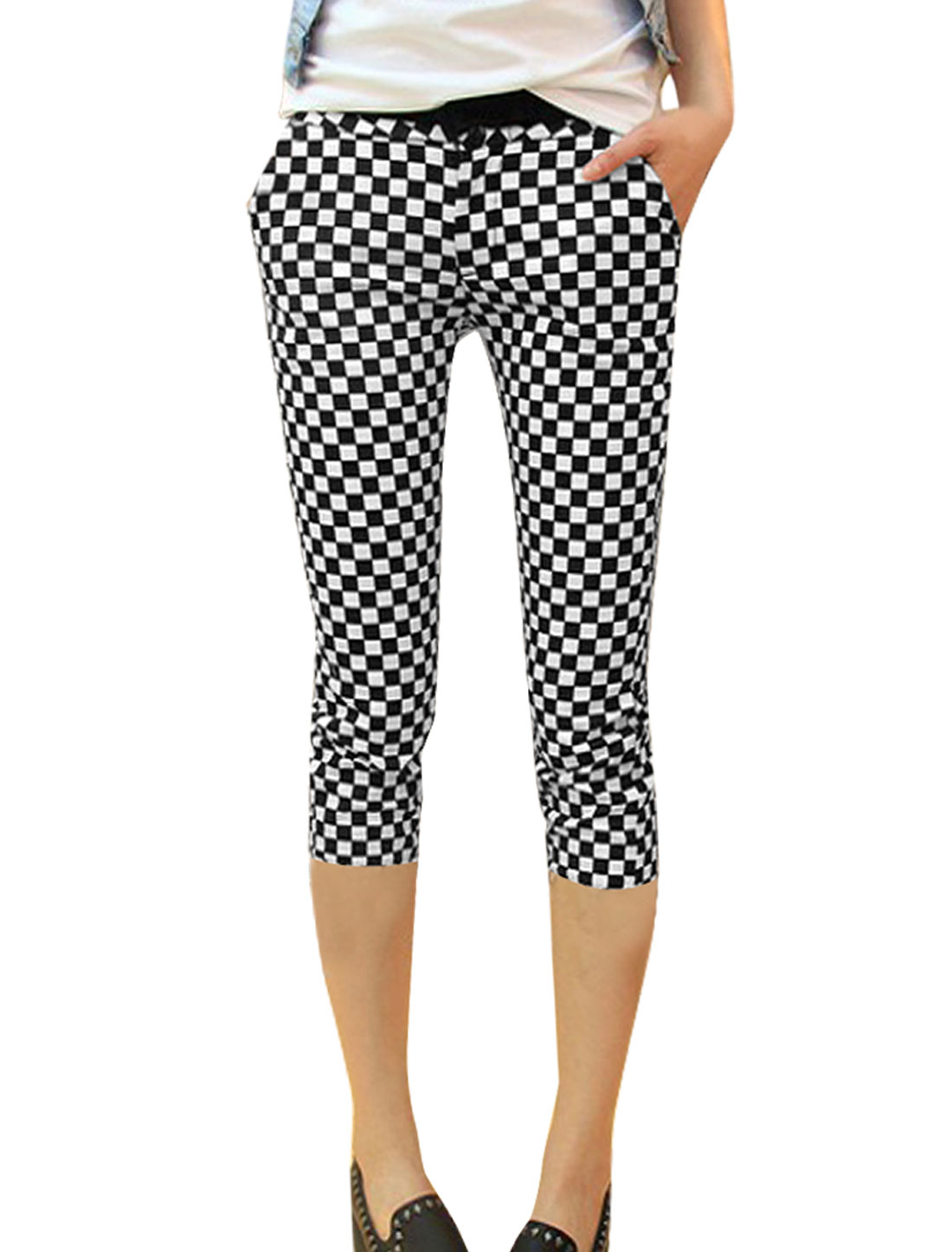 Lady Zip Fly Closure Buttoned Plaids Prints Black White Slim Fit Pants XS