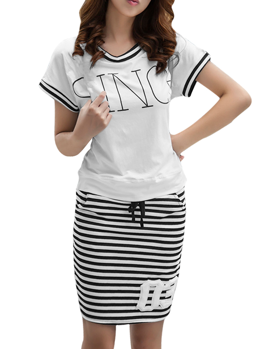 Women Letters Short-sleeved Tops w Stripes Prints Pockets Skirt White S