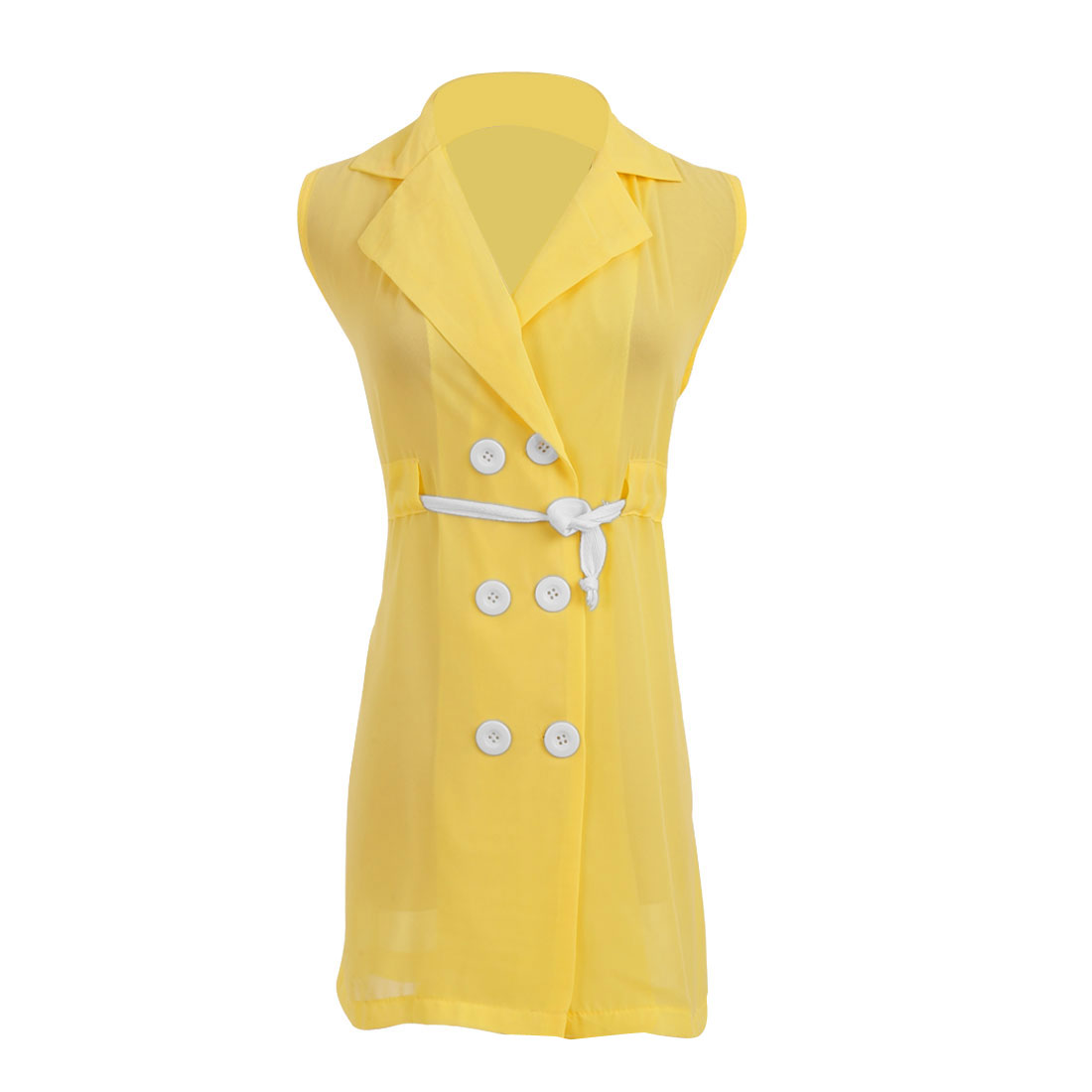 Ladies Point Collar Drawstring Buttons Upper Trench Vests Light Yellow S