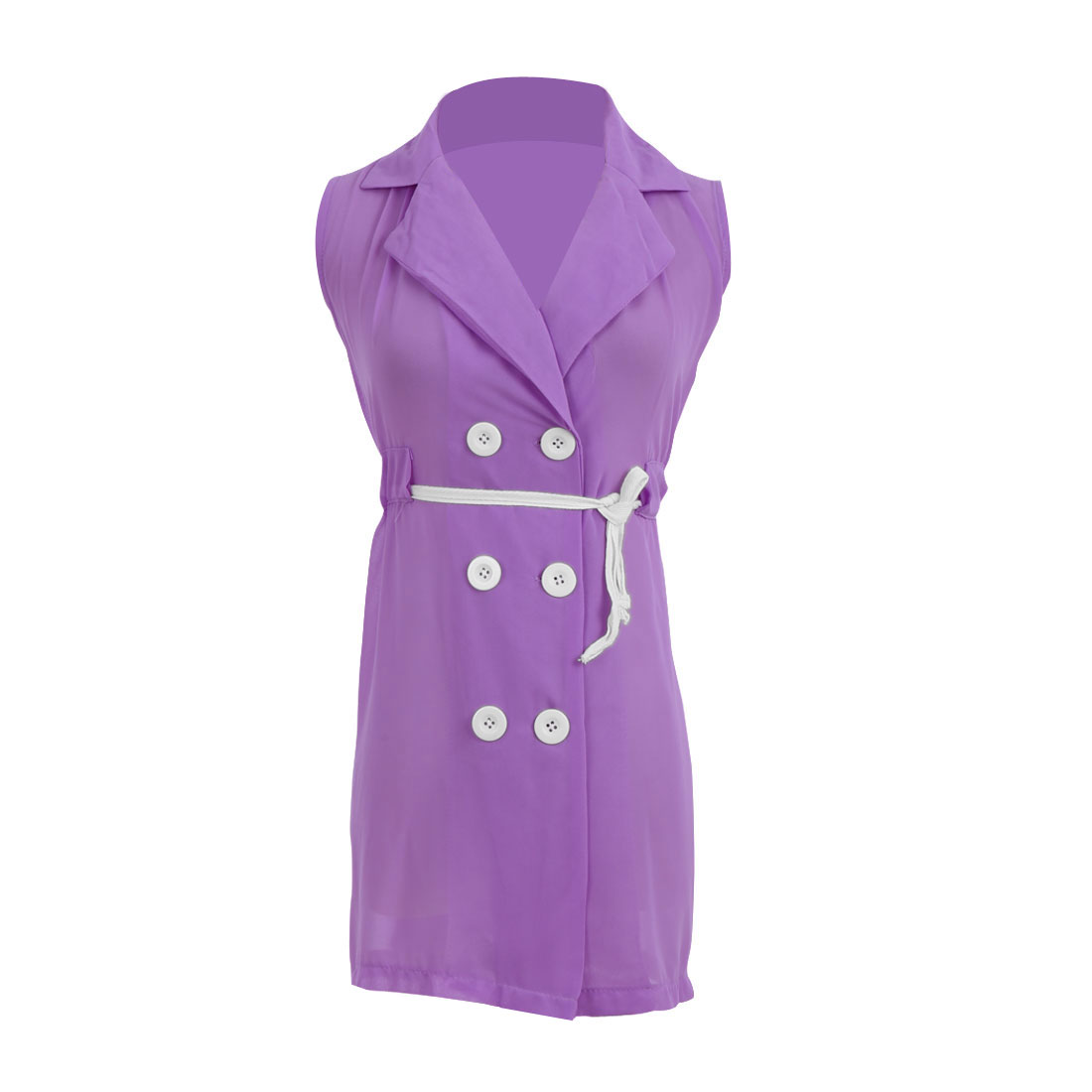 Lady Solid Color Buttons Upper Sleeveless Trench Vests Lavender S