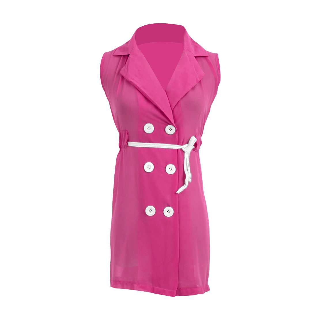 Ladies Point Collar Chiffon Buttoned Front Trench Vests Fuchsia S