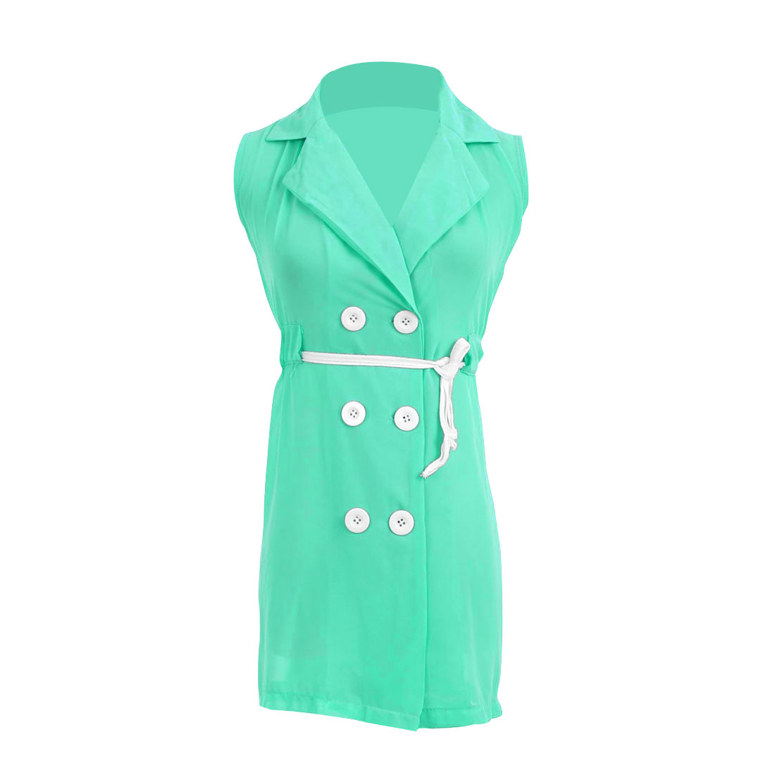 Ladies Chiffon Buttons Front Point Collar Trench Vests Light Green S